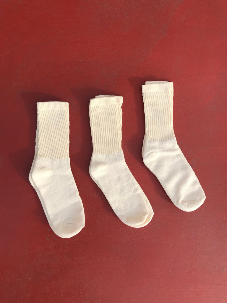 Organic Cotton Crew Socks, 3-Pack, Cream