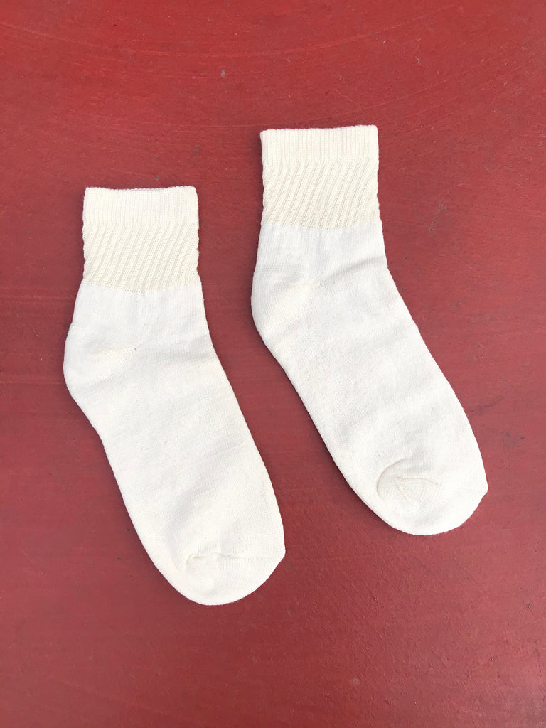 Organic Cotton Ankle Socks, 1 Pair, Cream