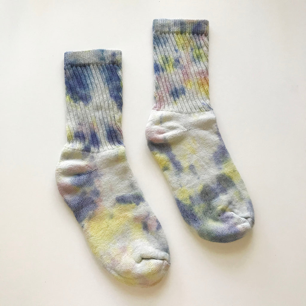 Multicolor Hand Dyed Crew Socks
