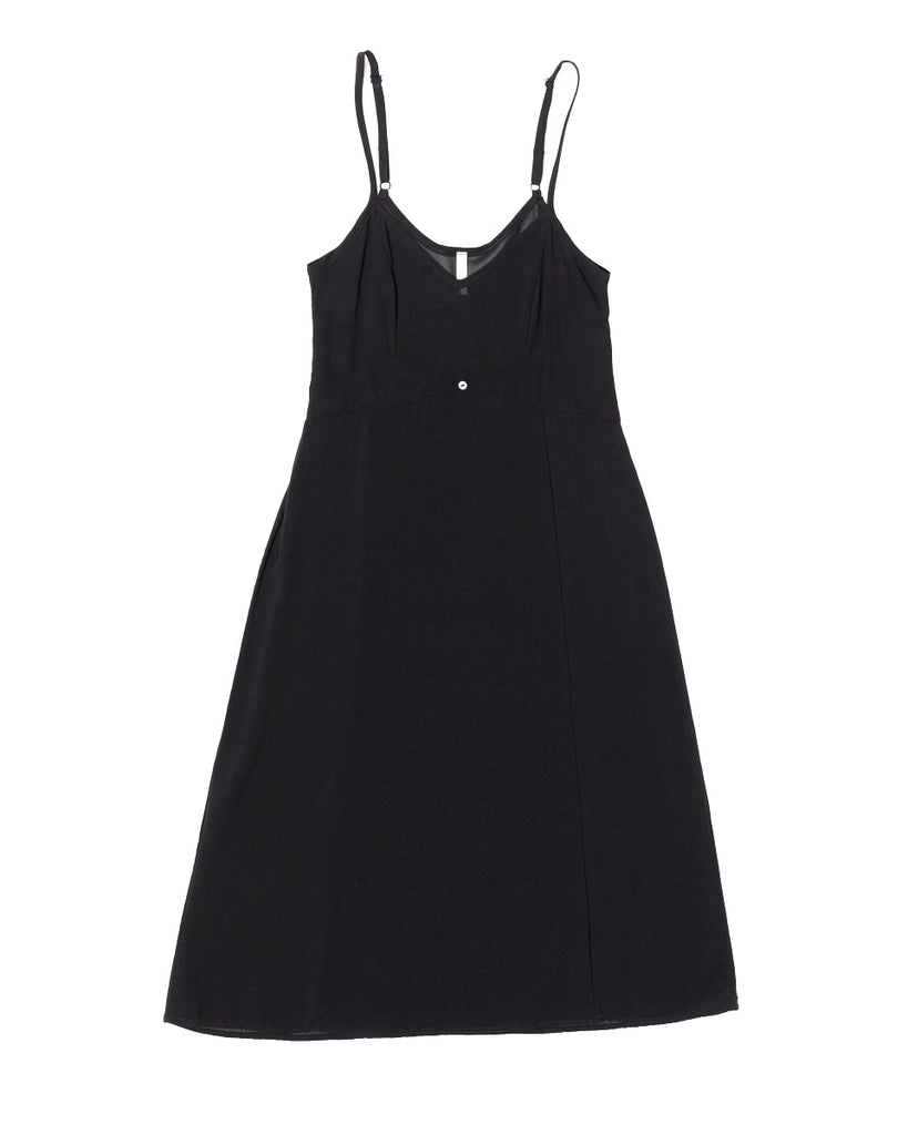 Vetiver Slip Dress- Black- Stretch Silk