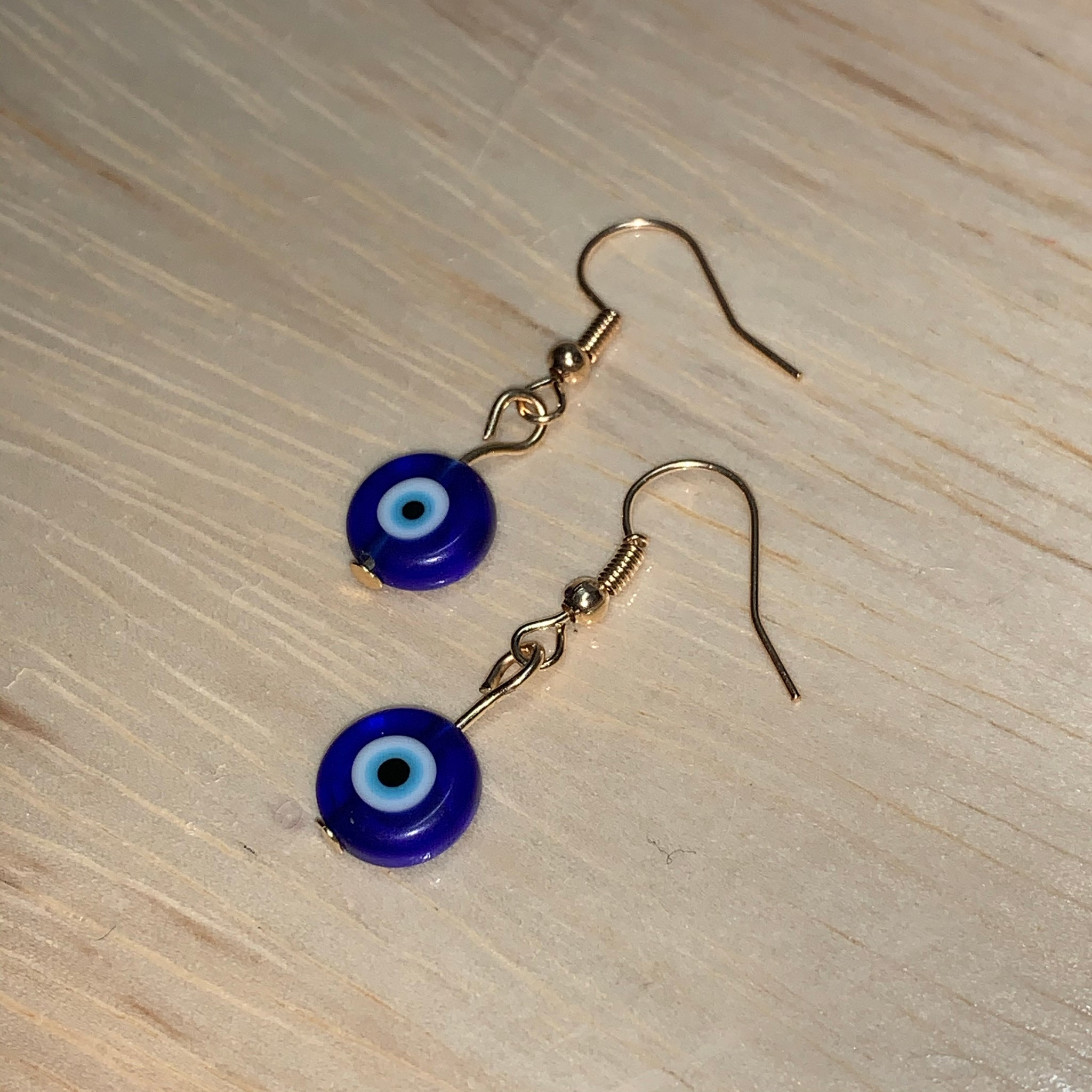 Glass Evil Eye Silver/Gold Earrings - Gaia Luna1