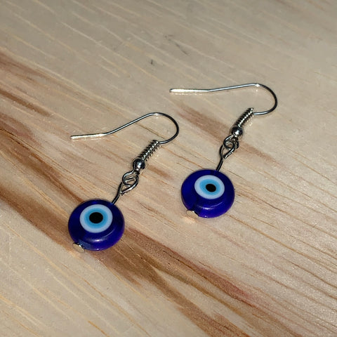 Glass Evil Eye Silver/Gold Earrings - Gaia Luna