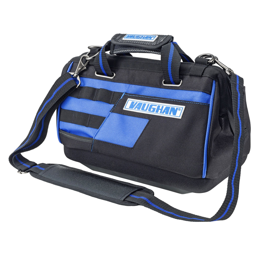 Vaughan Mouth Tool Bag, 1200D Polyester, 8 Pockets, 8 Tool Loops, Lots of Tool Storage, Heavy Duty Zippers, Shoulder Str