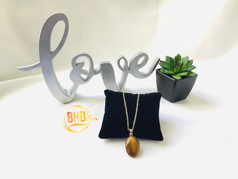 Tigers Eye Round Drop Necklace