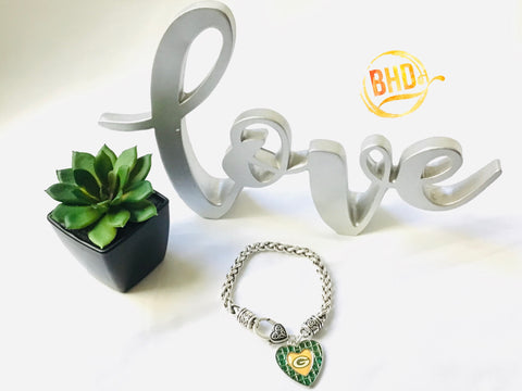 Packers Heart Bracelet