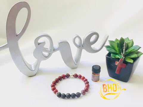 Red Jasper Diffuser Bracelet & Essential Oil Set