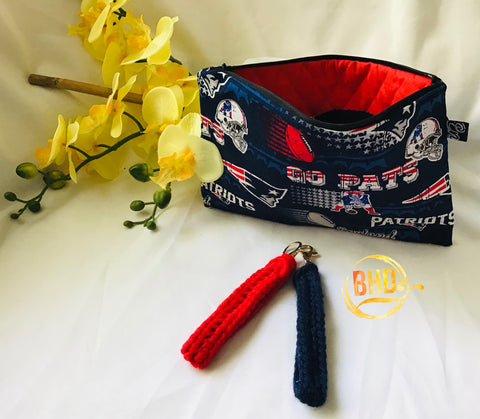 Patriots Wristlet|Clutch|Toiletries Bag