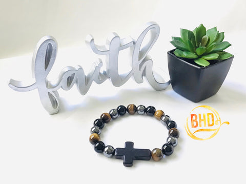 Tiger Eye|Hematite|Obsidian Cross Bracelet