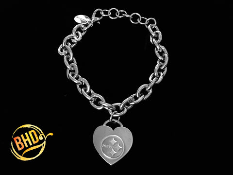 Steelers Link Heart Bracelet