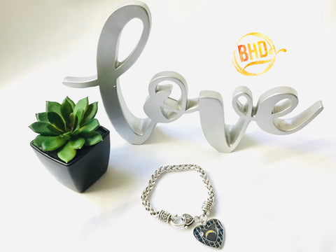Chargers Heart Bracelet