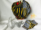 African - Ankara Satin-Lined Bonnet|Mask Set