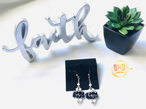Jet Black Swarovski Crystals Earrings