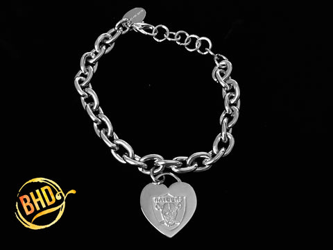Raiders Link Heart Bracelet