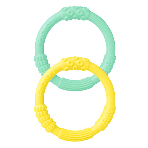 Silicone Teether 2 Pack, Mint/Banana