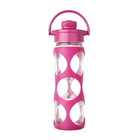 16 oz Glass Bottle with Flip Top Cap and Silicone Sleeve - Hot Pink
