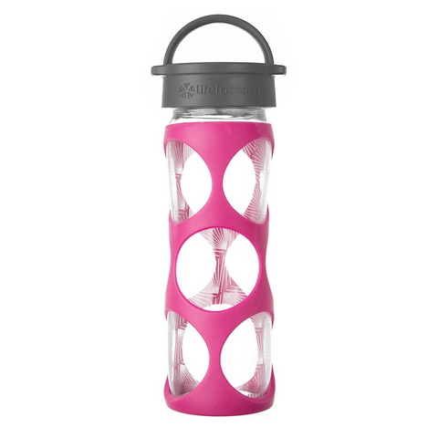 16 oz Glass Bottle with Classic Cap and Silicone Sleeve - Hot Pink Ion