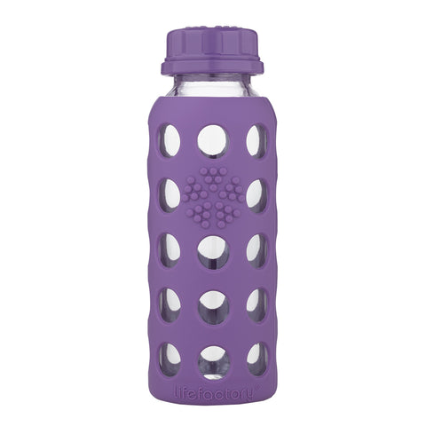 9oz Glass Water Bottle with Flat Cap, Grape