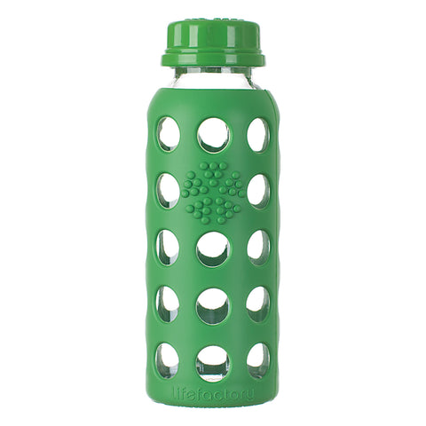 9 oz Glass Water Bottle with Flat Cap and Silicone Sleeve, Grass Green