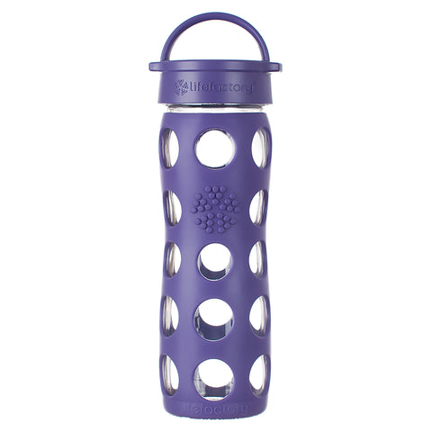16 oz Glass Water Bottle with Classic Cap and Silicone Sleeve, Royal Purple