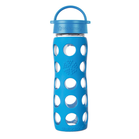 Lifefactory 16 oz Glass Water Bottle with Classic Cap and Silicone Sleeve - Ocean