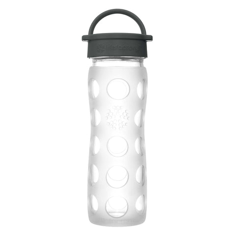 16 oz Glass Water Bottle with Classic Cap and Silicone Sleeve, Clear
