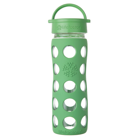 16 oz Glass Water Bottle with Classic Cap and Silicone Sleeve, Grass Green