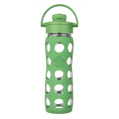 16 oz Glass Water Bottle with Flip Cap and Silicone Sleeve, Grass Green