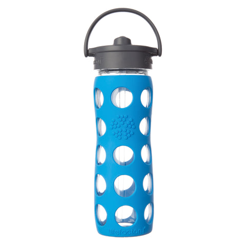 16 oz Glass Water Bottle with Straw Cap and Silicone Sleeve, Ocean