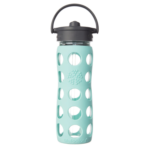 16 oz Glass Water Bottle with Straw Cap and Silicone Sleeve, Turquoise
