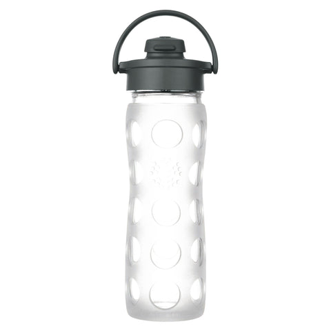 16 oz Glass Water Bottle with Flip Cap and Silicone Sleeve, Clear