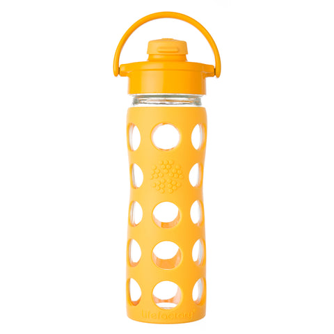 16 oz Glass Water Bottle with Flip Cap and Silicone Sleeve, Collegiate Yellow
