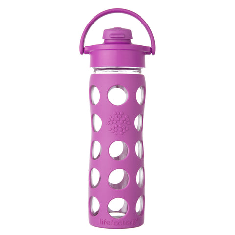 16 oz Glass Water Bottle with Flip Cap and Silicone Sleeve, Huckleberry