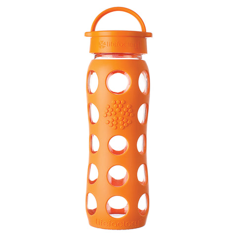 22 oz Glass Water Bottle with Classic Cap and Silicone Sleeve, Orange