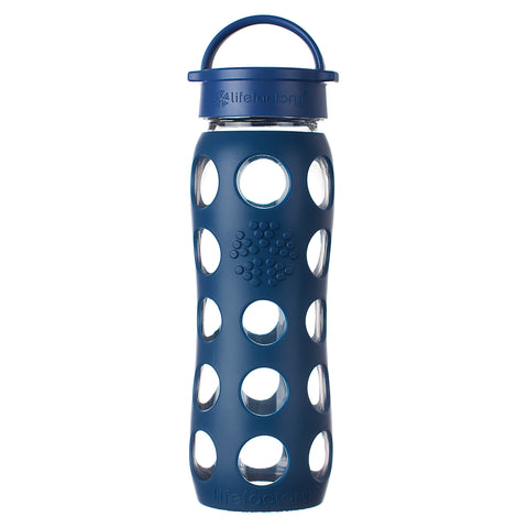 22 oz Glass Water Bottle with Classic Cap and Silicone Sleeve, Midnight Blue