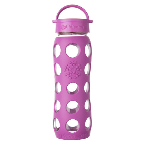 22 oz Glass Water Bottle with Classic Cap and Silicone Sleeve, Huckleberry