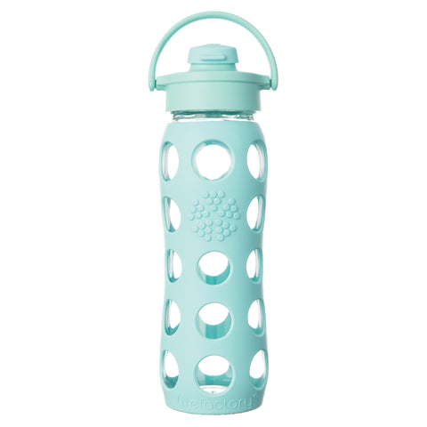 22 oz Glass Water Bottle with Flip Cap and Silicone Sleeve, Turquoise