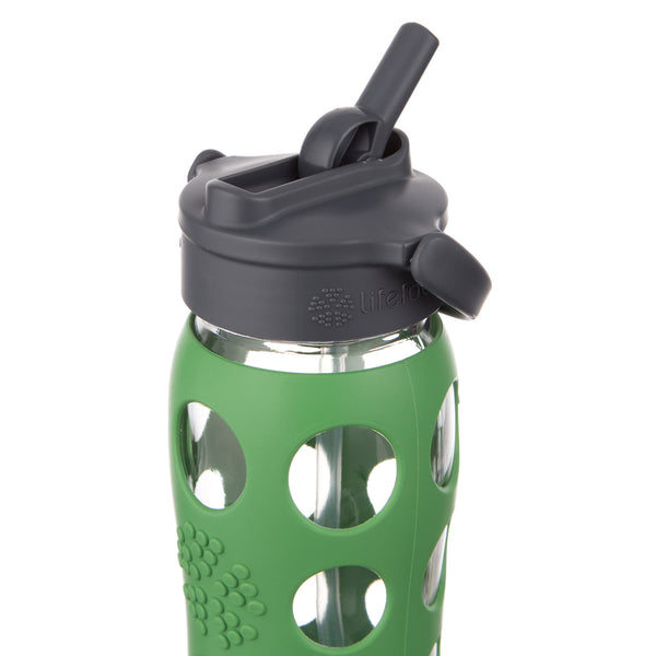 Lifefactory 22 Oz Glass Water Bottle With Straw Cap And