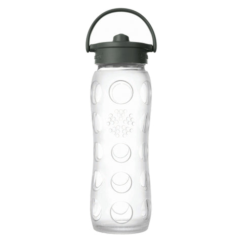22 oz Glass Water Bottle with Straw Cap and Silicone Sleeve, Clear