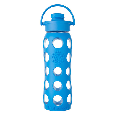 22 oz Glass Water Bottle with Flip Cap and Silicone Sleeve, Ocean