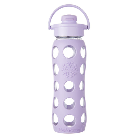 22 oz Glass Water Bottle with Flip Cap and Silicone Sleeve, Lilac