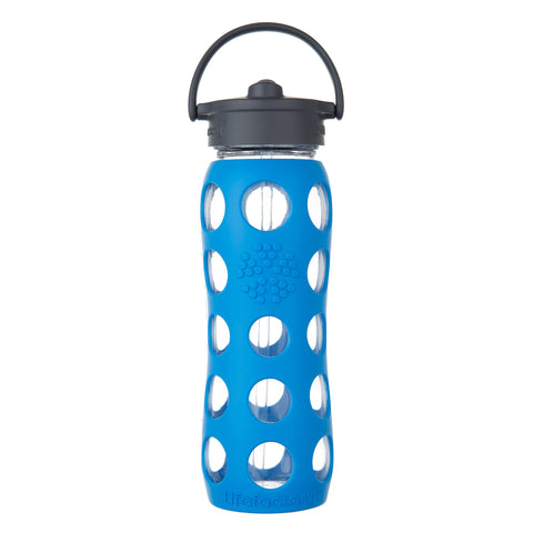 22 oz Glass Water Bottle with Straw Cap and Silicone Sleeve, Ocean