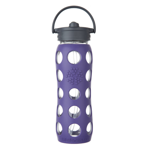 22 oz Glass Water Bottle with Straw Cap and Silicone Sleeve, Royal Purple