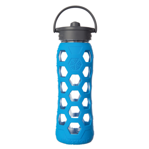22 oz Glass Water Bottle with Straw Cap and Silicone Sleeve, Ocean Hex