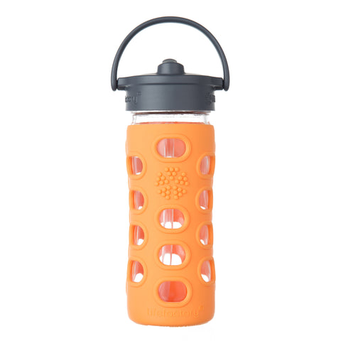 12 oz Glass Water Bottle with Straw Cap and Silicone Sleeve, Orange