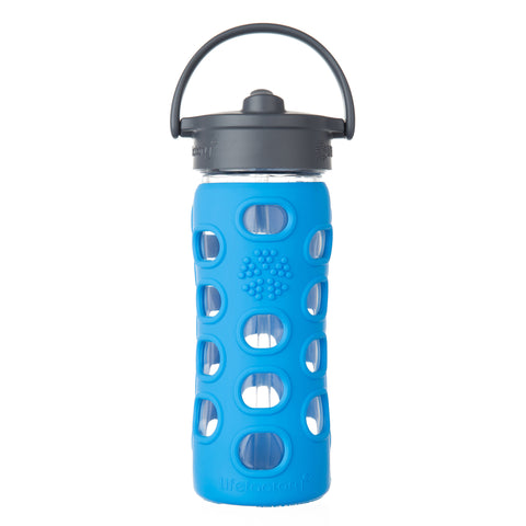 12 oz Glass Water Bottle with Straw Cap and Silicone Sleeve, Ocean