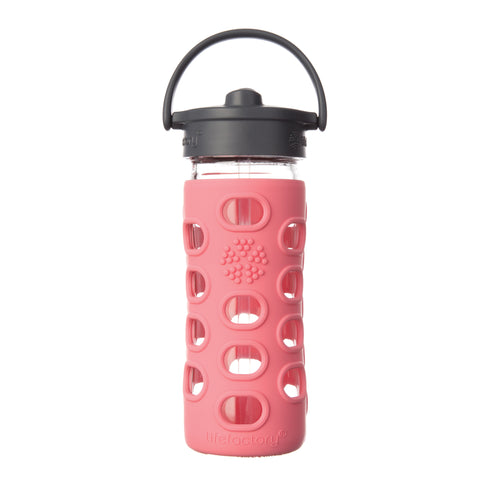 12 oz Glass Water Bottle with Straw Cap, Coral