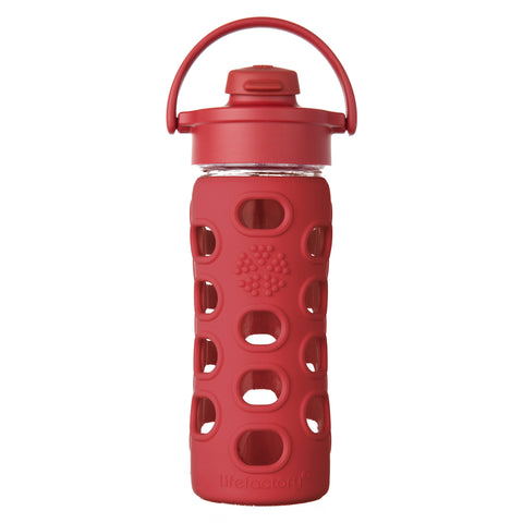 12 oz Glass Water Bottle with Flip Cap and Silicone Sleeve, Red