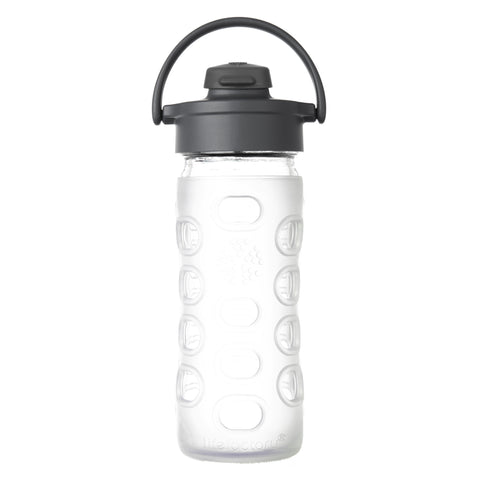 12 oz Glass Water Bottle with Flip Cap and Silicone Sleeve, Clear