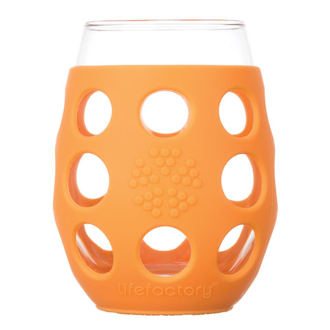 11 oz Wine Glass 2 Pack with Silicone Sleeve, Orange