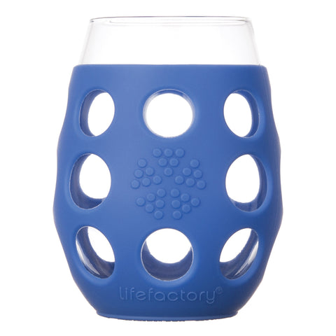 11 oz Wine Glass 2 Pack with Silicone Sleeve, Cobalt